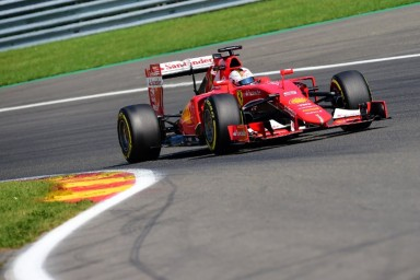 Ferrari's German driver Sebastian Vettel drives during the qualifying session at the Spa-Francorchamps ciruit in Spa on August 22, 2015, ahead of the Belgian Formula One Grand Prix. AFP PHOTO / EMMANUEL DUNAND